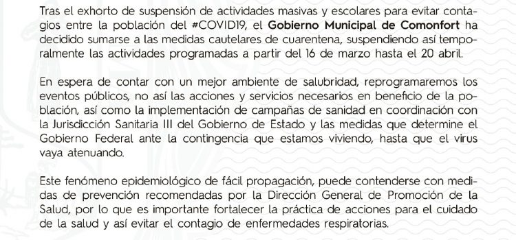 Suspende Comonfort actividades masivas y educativas.