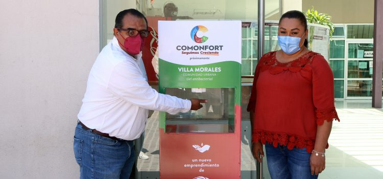 Colocan dispensadores en Comonfort y comunidades